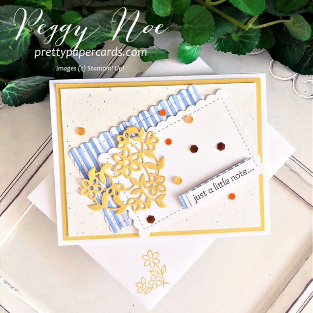 Handmade card using the Lots of Heart Bundle by Stampin' Up! created by Peggy Noe of Pretty Paper Cards #lotsofheart #lotsofheartbundle #lotsofheartstampset #justalittlenotecard #GDP294 #you'reapeachdsp