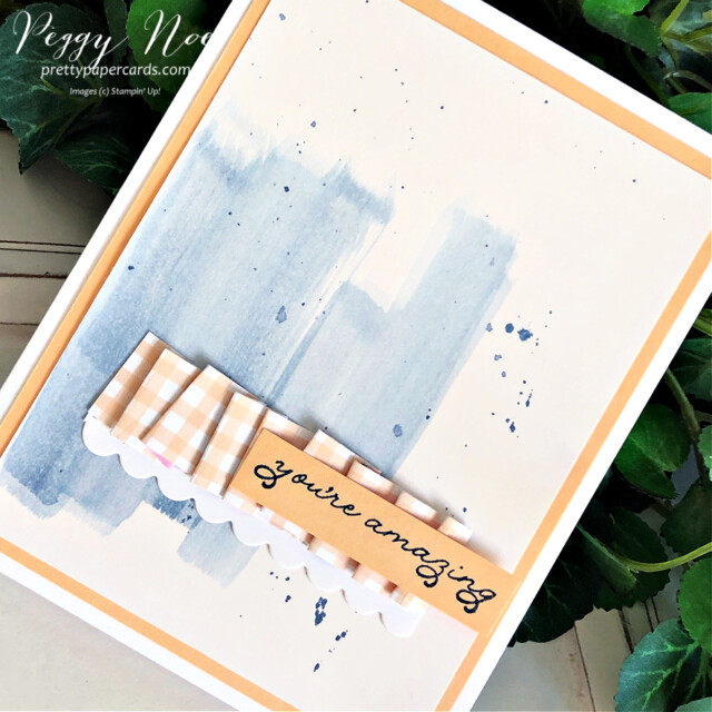 Handmade card using the Stampin' Up! Ornate Thanks Stamp Set and paper ribbon created by Peggy Noe of Pretty Paper Cards #ornatethanks #paperribbon #ornatethanksstampset #watercolor #pansypetalsdsp #pansypetalspaper #pansypetalsdesignerseriespaper #pennedflowersdies #gdp298 #peggynoe #prettypapercards #prettypapercards.com #stampinup #you'reamazing #splatter