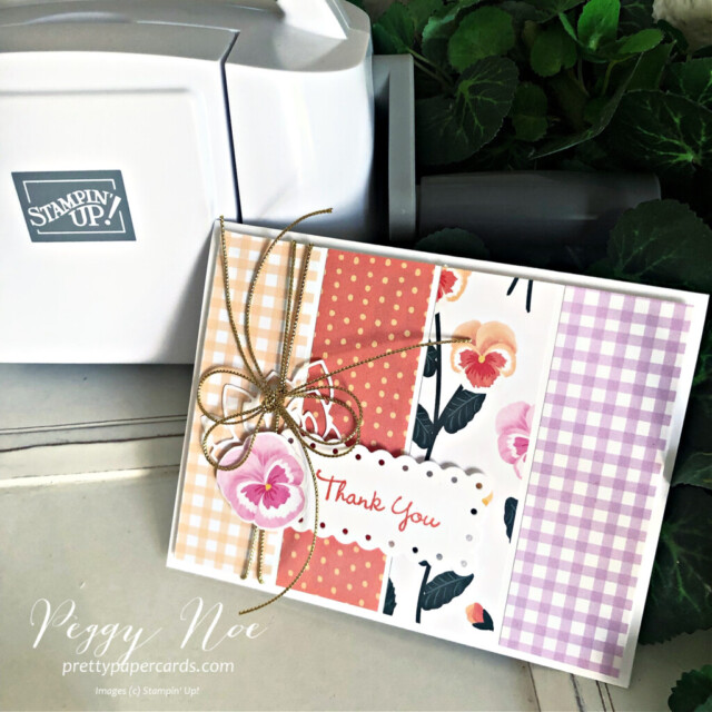 Handmade Thank You card using the Pansy Patch Bundle by Stampin' Up! created by Peggy Noe of Pretty Paper Cards #peggynoe #prettypapercards #prettypapercards.com #stampinup #stampingup #pansypatch #pansypatchbundle #pansypetals #pansypetalssuite #pansycard #pansypetalspaper #pansypetalsdesignerseriespaper #thankyou #thankyoucard #fms491 #freshlymadesketches #papercrafting