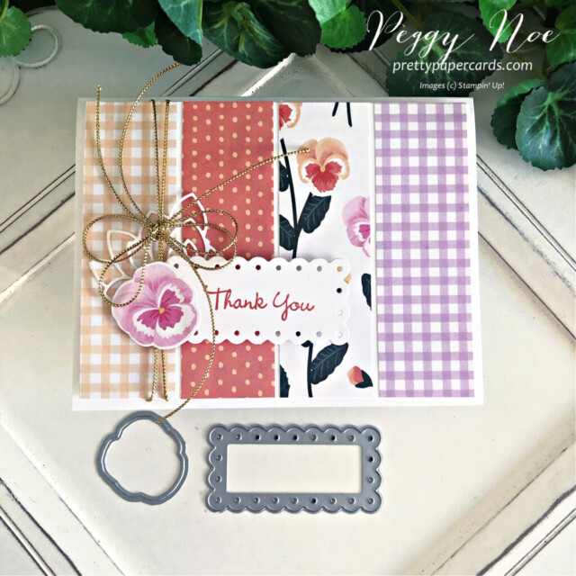 Handmade Thank You card using the Pansy Patch Bundle by  Stampin' Up! created by Peggy Noe of Pretty Paper Cards #peggynoe #prettypapercards #prettypapercards.com #stampinup #stampingup #pansypatch #pansypatchbundle #pansypetals #pansypetalssuite #pansycard #pansypetalspaper #pansypetalsdesignerseriespaper #thankyou #thankyoucard  #fms491 #freshlymadesketches