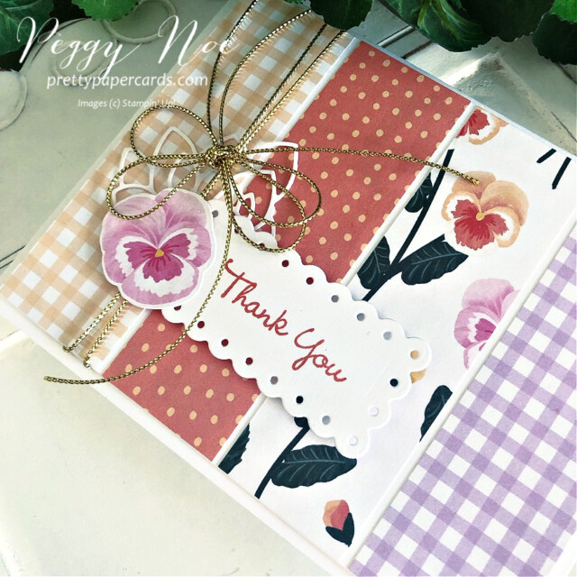 Handmade Thank You card using the Pansy Patch Bundle by  Stampin' Up! created by Peggy Noe of Pretty Paper Cards #peggynoe #prettypapercards #prettypapercards.com #stampinup #stampingup #pansypatch #pansypatchbundle #pansypetals #pansypetalssuite #pansycard #pansypetalspaper #pansypetalsdesignerseriespaper #thankyou #thankyoucard  #fms491 #pansythankyou