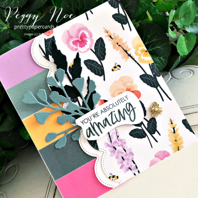 Handmade all-occasion card made with the Color & Contour Bundle by Stampin' Up! created by Peggy Noe of Pretty Paper Cards #color&contourbundle #pansypetalspaper #pansypetalsdsp #pansydies #foreverflourishingdies #bumblebeetrinkets #incolorvellum #gdp296 #peggynoe #prettypapercards #prettypapercards.com