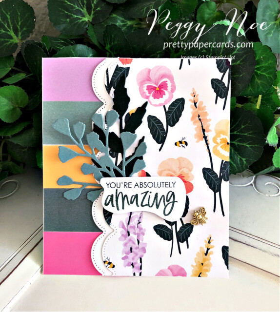 Handmade all-occasion card made with the Color & Contour Bundle by Stampin' Up! created by Peggy Noe of Pretty Paper Cards #color&contourbundle #pansypetalspaper #pansypetalsdsp #pansydies #foreverflourishingdies #bumblebeetrinkets #incolorvellum #gdp296 #peggynoe #prettypapercards #prettypapercards.com #youareamazingcard