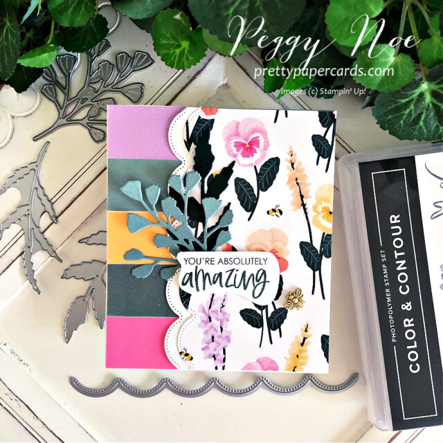 Handmade all-occasion card made with the Color & Contour Bundle by Stampin' Up! created by Peggy Noe of Pretty Paper Cards #color&contourbundle #pansypetalspaper #pansypetalsdsp #pansydies #foreverflourishingdies #bumblebeetrinkets #incolorvellum #gdp296 #peggynoe #prettypapercards #prettypapercards.com #amazingcard