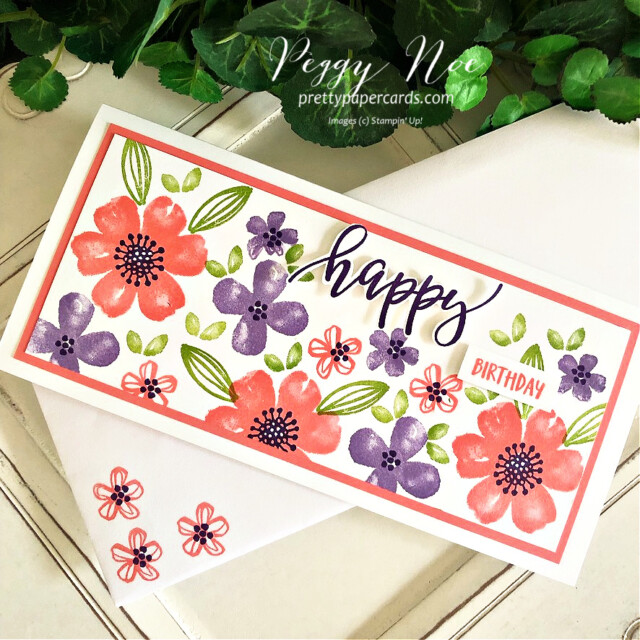 Handmade birthday card made with the Pretty Perennials stamp set by Stampin' Up! created by Peggy Noe of Pretty Paper Cards #peggynoe #prettypapercards #prettypapercards.com #prettyperennials #prettyperennialsstampset #happycard  #slimline #slimlinecard #stampinup #stampingup #handmadecard #heatherhighlandink #grannyapplegreenink #gorgeousgrapeink