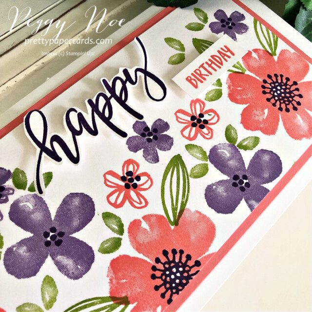 Handmade birthday card made with the Pretty Perennials stamp set by Stampin' Up! created by Peggy Noe of Pretty Paper Cards #peggynoe #prettypapercards #prettypapercards.com #prettyperennials #prettyperennialsstampset #happycard  #slimline #slimlinecard #stampinup #stampingup #handmadecard #heatherhighlandink #grannyapplegreenink