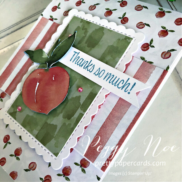 Handmade Card using You're a Peach Suite by Stampin' Up! created by Peggy Noe of Pretty Paper Cards #peggynoe #prettypapercards #stampinup #stampingup #you'reapeach #sweetasapeach #sweetasapeachbundle #you'reapeachsuite #thankyou #thankyoucard #you'reapeachpaper #you'reapeachdesignerseriespaper #funfoldcard #scallopedcontoursdies