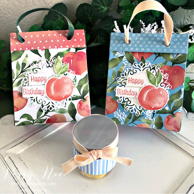 Handmade Happy Birthday Gift Bag made with Stampin' Up! You're a Peach Paper created by Peggy Noe of Pretty Paper Cards #peggynoe #prettypapercards #prettypapercards.com #giftbag #papergiftbag #handmadegiftbag #you'reapeach #you'reapeachdesignerseriespaper #you'reapeachdsp #encircledinbeautydies #sweetasapeachbundle #sweetasapeachstampset