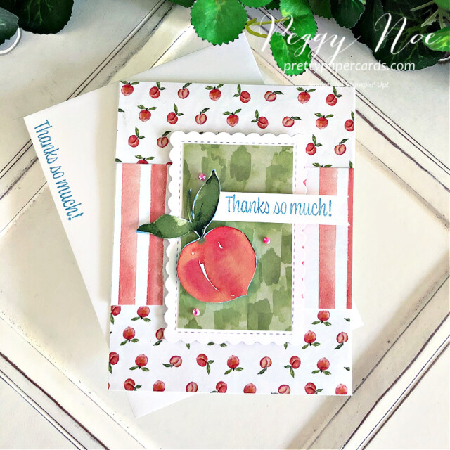 Handmade Card using You're a Peach Suite by Stampin' Up! created by Peggy Noe of Pretty Paper Cards #peggynoe #prettypapercards #stampinup #stampingup #you'reapeach #sweetasapeach #sweetasapeachbundle #you'reapeachsuite #thankyou #thankyoucard #you'reapeachpaper #you'reapeachdesignerseriespaper #scallopedcontoursdies #funfold