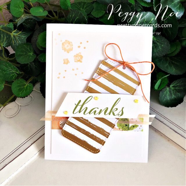 Handmade thank you card using Artistically Inked Bundle and Tailor Made Tags Dies by Stampin' Up! created by Peggy Noe of Pretty Paper Cards #stampinup #stampiingup #artisticallyinked #artisticallyinkedbundle #expressionsinink #tailormadetags #tailormadetagsdies #thankyou #thankyoucard #tagcard #fms489