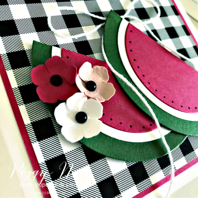 Handmade Celebrate Card with Watermelon Slices created using the Create With Friends Stamp Set by Stampin' Up! made by Peggy Noe of Pretty Paper Cards #peggynoe #prettypapercards #prettypapercards.com #stampinup #stampingup #watermeloncard #paperwatermelonslices #celebratecard #createwithfriends #createwithfriendsstampset #patternpartypaper #patternpartydsp #patternpartydesignerseriespaper #handmadecard