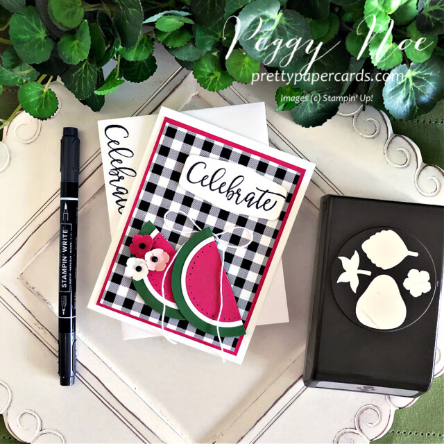 Handmade Celebrate Card with Watermelon Slices created using the Create With Friends Stamp Set by Stampin' Up! made by Peggy Noe of Pretty Paper Cards #peggynoe #prettypapercards #prettypapercards.com #stampinup #stampingup #watermeloncard #paperwatermelonslices #celebratecard #createwithfriends #createwithfriendsstampset #patternpartypaper #patternpartydsp #patternpartydesignerseriespaper #handmadecard #summercard