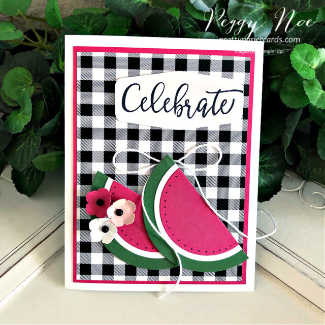 Handmade Celebrate Card with Watermelon Slices created using the Create With Friends Stamp Set by Stampin' Up! made by Peggy Noe of Pretty Paper Cards #peggynoe #prettypapercards #prettypapercards.com #stampinup #stampingup #watermeloncard #paperwatermelonslices #celebratecard #createwithfriends #createwithfriendsstampset #patternpartypaper #patternpartydsp #patternpartydesignerseriespaper #handmadecard #summercard #picniccard