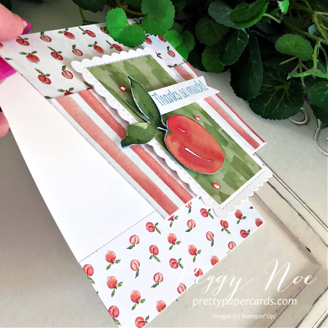 Handmade Card using You're a Peach Suite by Stampin' Up! created by Peggy Noe of Pretty Paper Cards #peggynoe #prettypapercards #stampinup #stampingup #you'reapeach #sweetasapeach #sweetasapeachbundle #you'reapeachsuite #thankyou #thankyoucard #you'reapeachpaper #you'reapeachdesignerseriespaper #scallopedcontoursdies