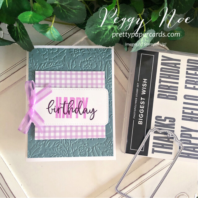 Handmade birthday card made with the Biggest Wish Stamp Set by Stampin' Up! created by Peggy Noe of Pretty Paper Cards #peggynoe #prettypapercards #prettypapercards.com #stampinup #stampingup #biggestwish #biggestwishstampset #tailormadetags #tags #stitchedtags #birthday #birthdaycard #handmadebirthdaycard #freshfreesiacard
