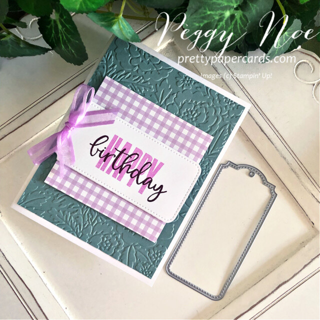 Handmade birthday card made with the Biggest Wish Stamp Set by Stampin' Up! created by Peggy Noe of Pretty Paper Cards #peggynoe #prettypapercards #prettypapercards.com #stampinup #stampingup #biggestwish #biggestwishstampset #tailormadetags #tags #stitchedtags #birthday #birthdaycard #handmadebirthdaycard #freshfreesiacard #tags