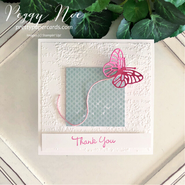 Handmade thank you card using the Pansy Patch Stamp Set and Brilliant Wings by Stampin' Up! by Peggy Noe of Pretty Paper Cards #FMS492 #peggynoe #prettypapercards #stampinup #stampingup #pansypatch #pansypatchstampset #polishedpink #brilliantwingsdies #butterflies
