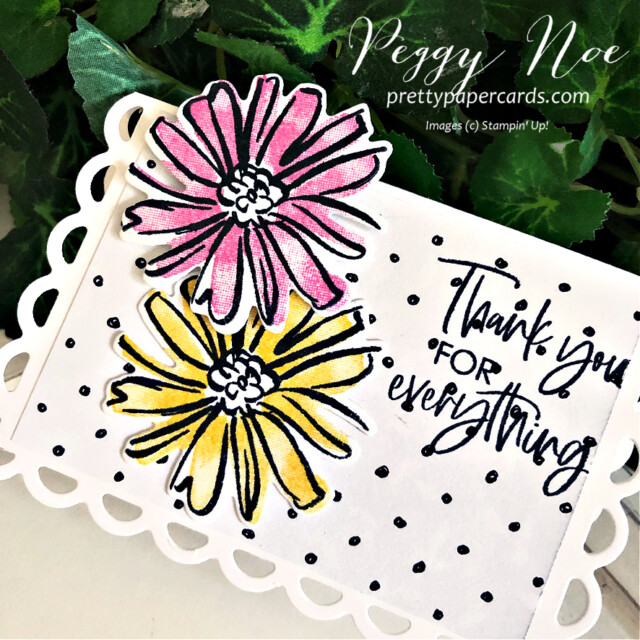 Handmade thank you mini card made with the Color & Contour Bundle by Stampin' Up! created by Peggy Noe of Pretty Paper Cards #color&contour #thankyou #thankyoucard #peggynoe #prettypapercards #prettypapercards.com #thankyoutag #placecard
