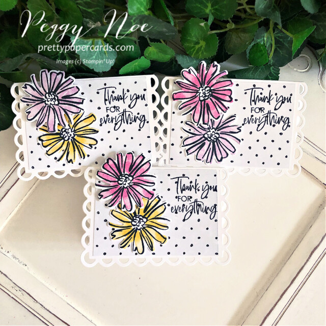 Handmade thank you mini card made with the Color & Contour Bundle by Stampin' Up! created by Peggy Noe of Pretty Paper Cards #color&contour #thankyou #thankyoucard #peggynoe #prettypapercards #prettypapercards.com #thankyoutag
