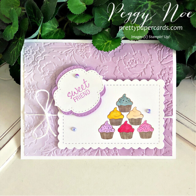 Handmade sweet friend cupcake card made with the Measure of Love stamp set by Stampin' Up! created by Peggy Noe of Pretty Paper Cards #measureoflove #measureodlovestampset #cupcakecard #sweetfriendcard #peggynoe #prettupapercards #prettupapercards.com #cupcakecard #ombregiftbags #cupcakes