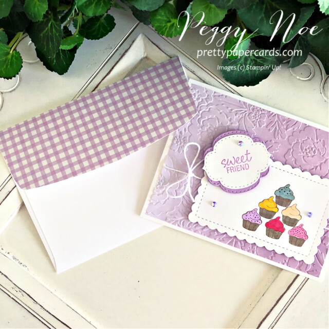 Handmade sweet friend cupcake card made with the Measure of Love stamp set by Stampin' Up! created by Peggy Noe of Pretty Paper Cards #measureoflove #measureodlovestampset #cupcakecard #sweetfriendcard #peggynoe #prettupapercards #prettupapercards.com #cupcakecard #ombregiftbags #purplecard
