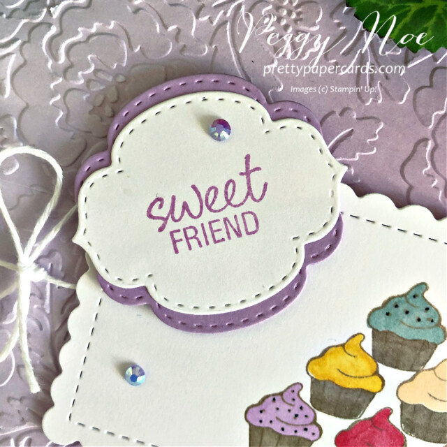 Handmade sweet friend cupcake card made with the Measure of Love stamp set by Stampin' Up! created by Peggy Noe of Pretty Paper Cards #measureoflove #measureodlovestampset #cupcakecard #sweetfriendcard #peggynoe #prettupapercards #prettupapercards.com #cupcakecard #ombregiftbags #purplecard #sweetcupcakes