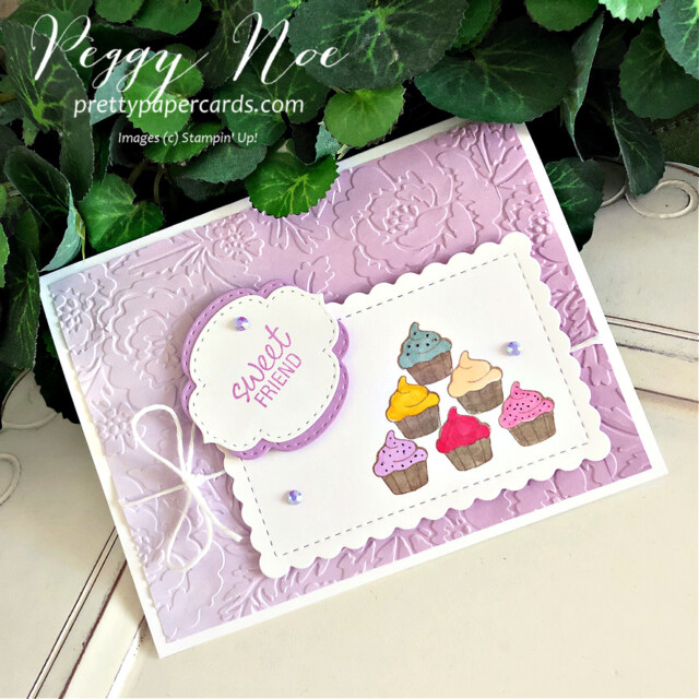 Handmade sweet friend cupcake card made with the Measure of Love stamp set by Stampin' Up! created by Peggy Noe of Pretty Paper Cards #measureoflove #measureodlovestampset #cupcakecard #sweetfriendcard #peggynoe #prettupapercards #prettupapercards.com #cupcakecard #ombregiftbags