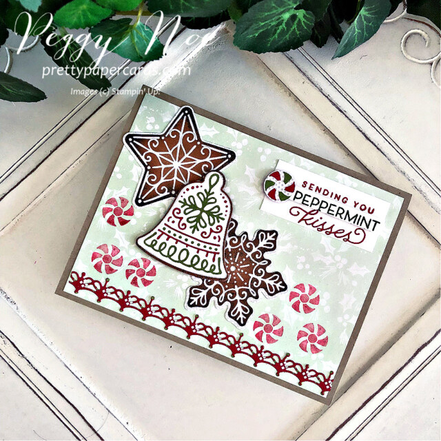 Handmade Christmas card using the Gingerbread & Peppermint Suite by Stampin' Up! created by Peggy Noe of Pretty Paper Cards #peggynoe #prettypapercards #prettypapercards.com #gingerbread&peppermint #gingerbread&Peppermintsuite #christmascard #gingerbreadcard #peppermintcard #holidaycard #peppermintcandies #gingerbread&peppermintpaper