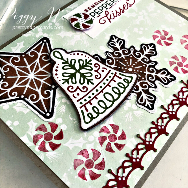 Handmade Christmas card using the Gingerbread & Peppermint Suite by Stampin' Up! created by Peggy Noe of Pretty Paper Cards #peggynoe #prettypapercards #prettypapercards.com #gingerbread&peppermint #gingerbread&Peppermintsuite #christmascard #gingerbreadcard #peppermintcard #holidaycard #peppermintcandies