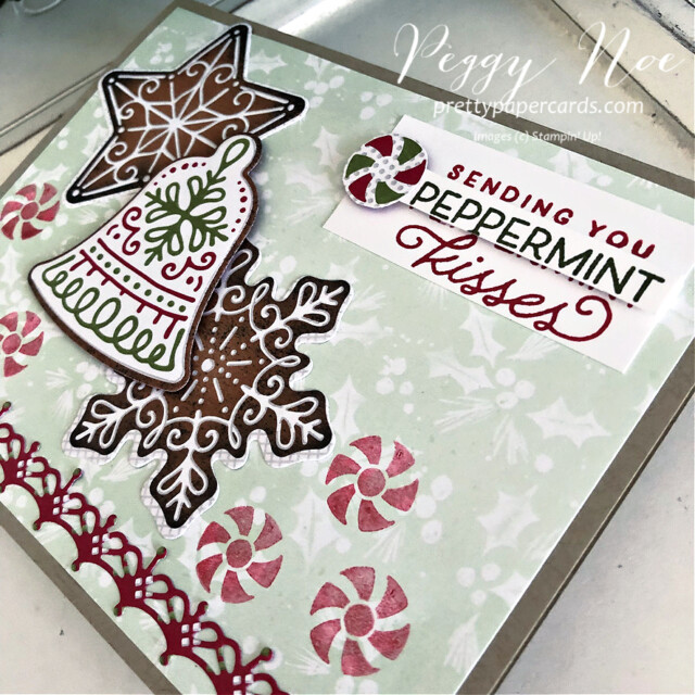 Handmade Christmas card using the Gingerbread & Peppermint Suite by Stampin' Up! created by Peggy Noe of Pretty Paper Cards #peggynoe #prettypapercards #prettypapercards.com #gingerbread&peppermint #gingerbread&Peppermintsuite #christmascard #gingerbreadcard #peppermintcard