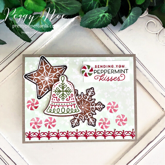 Handmade Christmas card using the Gingerbread & Peppermint Suite by Stampin' Up! created by Peggy Noe of Pretty Paper Cards #peggynoe #prettypapercards #prettypapercards.com #gingerbread&peppermint #gingerbread&Peppermintsuite #christmascard #gingerbreadcard #peppermintcard #holidaycard