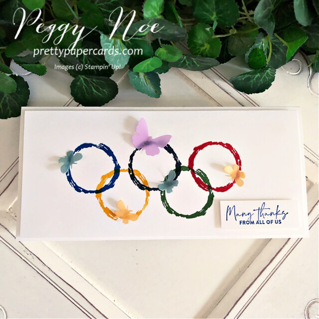 Handmade Olympic Rings card using the Textures & Frames Sale-a-Bration Stamp Set by Stampin' Up! created by Peggy Noe at Pretty Paper Cards #textures$frames #olympiccard #saleabration #textures&framesstampset #stampinup #stampingup #peggynoe #prettypapercards #prettypapercards.com