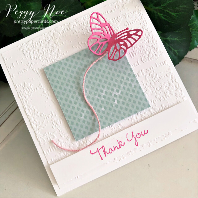 Handmade thank you card using the Pansy Patch Stamp Set and Brilliant Wings by Stampin' Up! by Peggy Noe of Pretty Paper Cards #FMS492 #peggynoe #prettypapercards #stampinup #stampingup #pansypatch #pansypatchstampset #polishedpink #brilliantwingsdies #butterflies #pinkbutterflycard