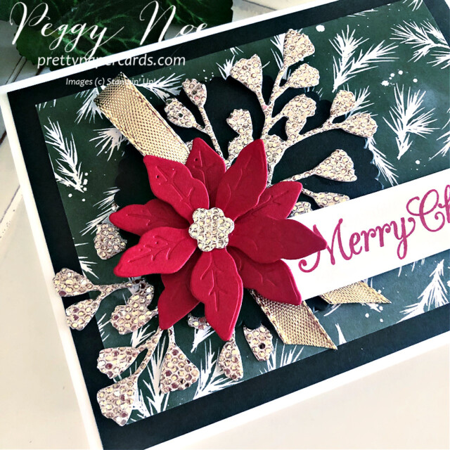 Handmade Poinsettia Christmas Card made with the Poinsettia Petals stamp set by Stampin' Up! created by Peggy Noe of Pretty Paper Cards #poinsettiapetals #christmascard #poinsettiacard #merrychristmascard #peggynoe #prettypapercards #prettypapercards.com #stampinup #stampingup