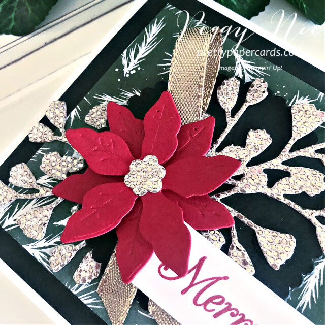 Handmade Poinsettia Christmas Card made with the Poinsettia Petals stamp set by Stampin' Up! created by Peggy Noe of Pretty Paper Cards #poinsettiapetals #christmascard #poinsettiacard #merrychristmascard #peggynoe #prettypapercards #prettypapercards.com #stampinup #stampingup #poinsettiapetalscard #foreverflourishingdies