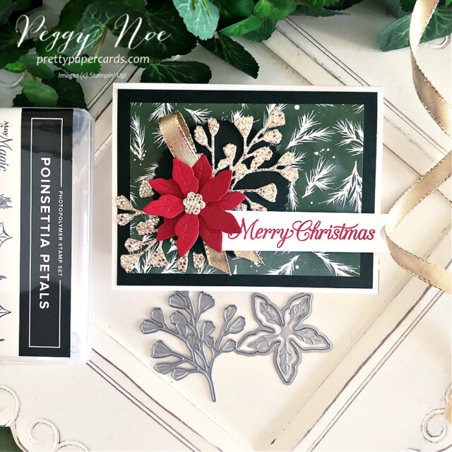 Handmade Poinsettia Christmas Card made with the Poinsettia Petals stamp set by Stampin' Up! created by Peggy Noe of Pretty Paper Cards #poinsettiapetals #christmascard #poinsettiacard #merrychristmascard #peggynoe #prettypapercards #prettypapercards.com #stampinup #stampingup #poinsettiapetalscard
