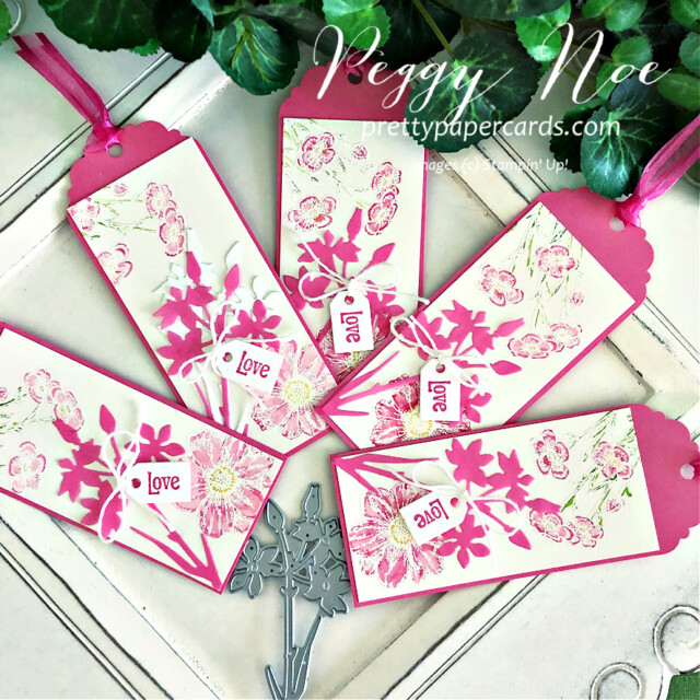 Handmade tag/bookmark created with Quiet Meadow Bundle by Stampin' Up! created by Peggy Noe of Pretty Paper Cards #stampinup #stampingup #peggynoe #prettypapercards #prettypapercards.com #quietmeadow #quietmeadowstampset #qiietmeadowbundle #tags #bookmark #quietmeadowtag #bookmark #polishedpink #quietmeadowbookmarks