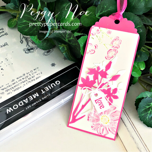 Handmade tag/bookmark created with Quiet Meadow Bundle by Stampin' Up! created by Peggy Noe of Pretty Paper Cards #stampinup #stampingup #peggynoe #prettypapercards #prettypapercards.com #quietmeadow #quietmeadowstampset #qiietmeadowbundle #tags #bookmark #quietmeadowtag