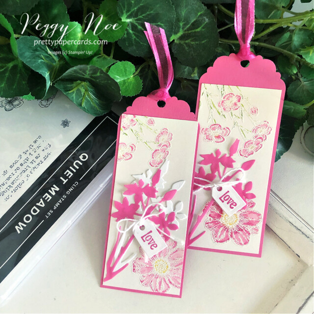 Handmade tag/bookmark created with Quiet Meadow Bundle by Stampin' Up! created by Peggy Noe of Pretty Paper Cards #stampinup #stampingup #peggynoe #prettypapercards #prettypapercards.com #quietmeadow #quietmeadowstampset #qiietmeadowbundle #tags #bookmark #quietmeadowtag #bookmark #polishedpink