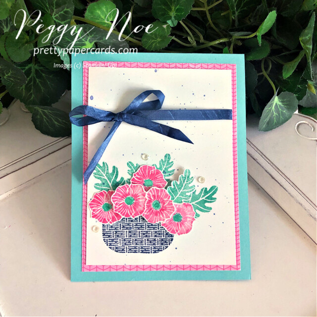 Handmade card using the Season's Blessings Stamp Set by Stampin' Up! designed by Peggy Noe of Pretty Paper Cards #GDP301 #season'sblessings #peggynoe #prettypapercards #basketofflowers #season'sblessingsbundle #coloredribbon
