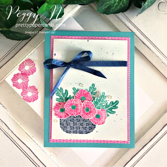 Handmade card using the Season's Blessings Stamp Set by Stampin' Up! designed by Peggy Noe of Pretty Paper Cards #GDP301 #season'sblessings #peggynoe #prettypapercards #basketofflowers #season'sblessingsbundle #alloccasioncard
