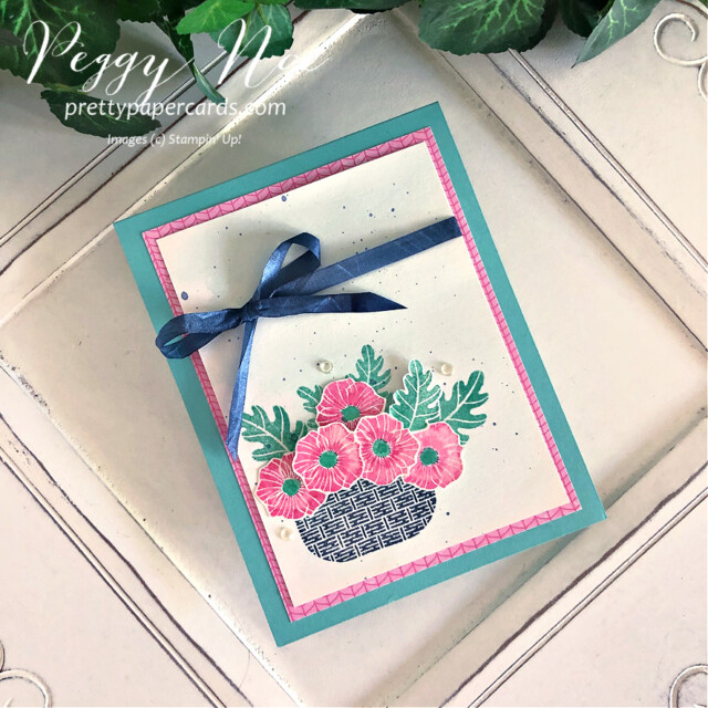 Handmade card using the Season's Blessings Stamp Set by Stampin' Up! designed by Peggy Noe of Pretty Paper Cards #GDP301 #season'sblessings #peggynoe #prettypapercards #basketofflowers #season'sblessingsbundle #polishedpink #coastalcabana