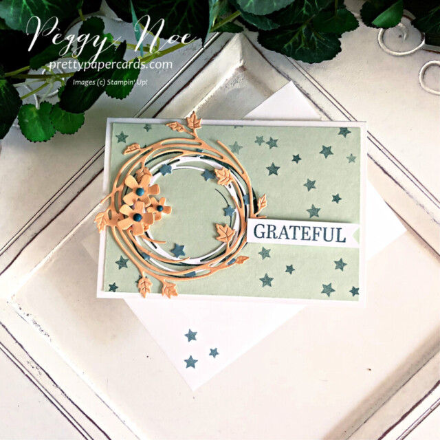 Handmade fall card made with the Sparkle of the Season Bundle by Stampin' Up! created by Peggy Noe of Pretty Paper Cards #peggynoe #prettypapercards #prettypapercards.com #stampinup #stampingup #sparkleoftheseason #sparkleoftheseasonbundle #seasonalswirlsdies #fallcard #gratefulcard #wreathcard #grateful