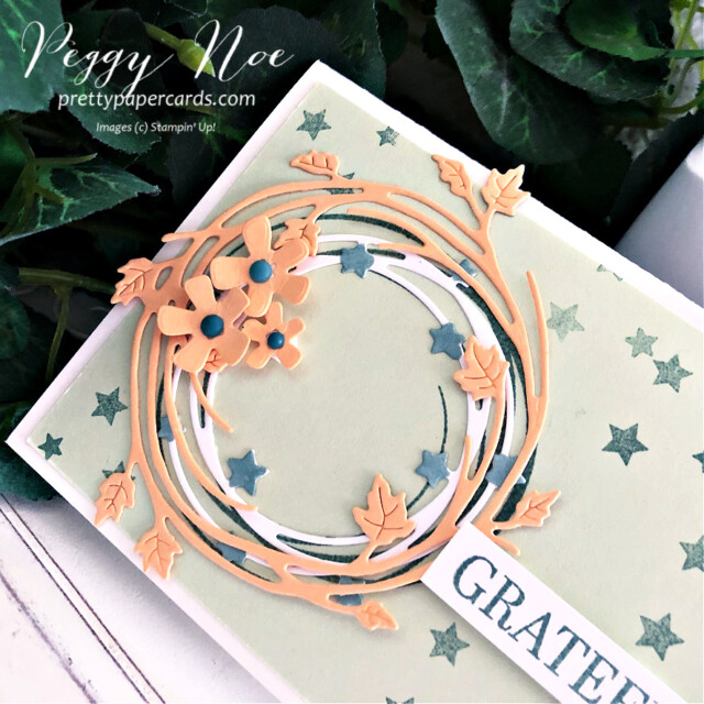 Handmade fall card made with the Sparkle of the Season Bundle by Stampin' Up! created by Peggy Noe of Pretty Paper Cards #peggynoe #prettypapercards #prettypapercards.com #stampinup #stampingup #sparkleoftheseason #sparkleoftheseasonbundle #seasonalswirlsdies #fallcard #gratefulcard #wreathcard