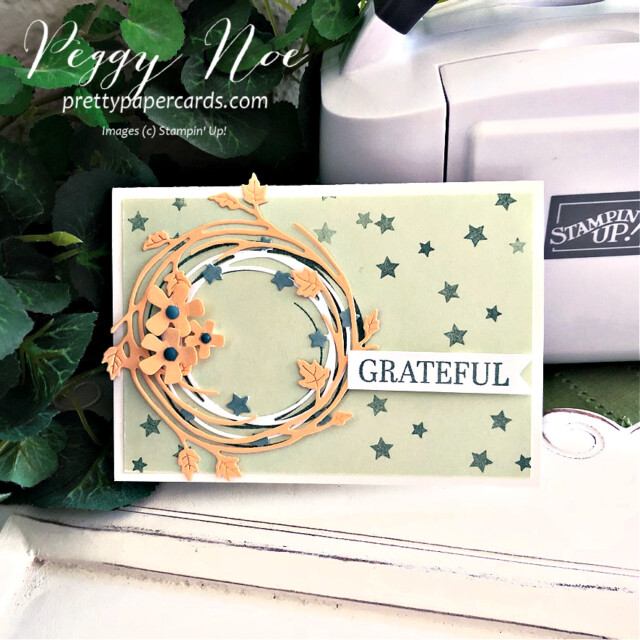 Handmade fall card made with the Sparkle of the Season Bundle by Stampin' Up! created by Peggy Noe of Pretty Paper Cards #peggynoe #prettypapercards #prettypapercards.com #stampinup #stampingup #sparkleoftheseason #sparkleoftheseasonbundle #seasonalswirlsdies #fallcard #gratefulcard #wreathcard #Christmaswreath