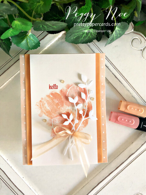Handmade Hello card created with the Sweet as a Peach stamp set by Stampin' Up! created by Peggy Noe of Pretty Paper Cards #sweetasapeach #sweetasapeachstampset #you'reapeafhpaper #you'reapeachpaper #birds&moredies #watercoloring #gdp300 #peggynoe #prettypapercards #prettypapercards.com #stampinup #stampingup #hellocard #handmadecard