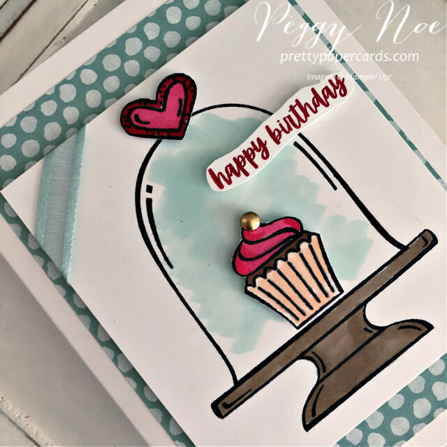 Handmade Birthday Card made with the Sweets & Treats Stamp Set by Stampin' Up! created by Peggy Noe of Pretty Paper Cards #sweets&treats #sweets&treatsstampset #clochecard #birthday #birthdaycard #cupcakecard #birthdaycupcake #birthdaycupcakecard #peggynoe  #prettypapercards #prettypapercards.com #stampinup #stampingup