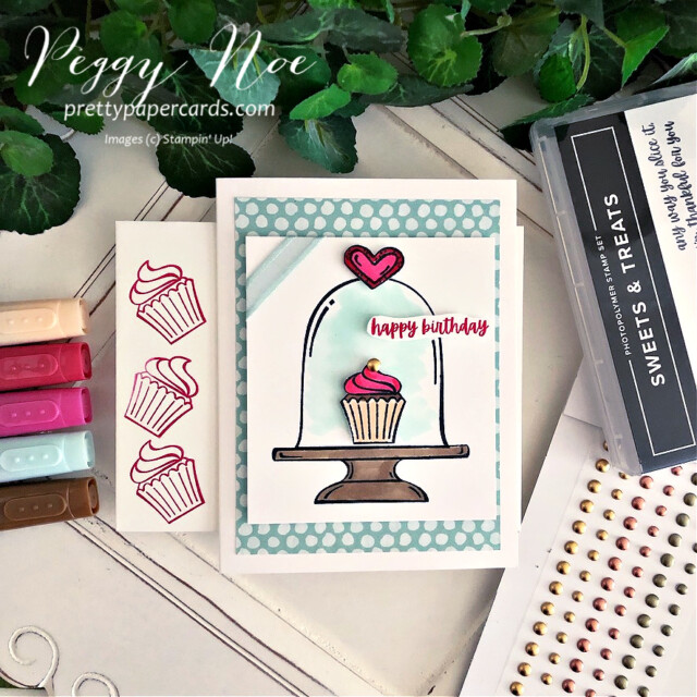 Handmade Birthday Card made with the Sweets & Treats Stamp Set by Stampin' Up! created by Peggy Noe of Pretty Paper Cards #sweets&treats #sweets&treatsstampset #clochecard #birthday #birthdaycard #cupcakecard #birthdaycupcake #birthdaycupcakecard #peggynoe #prettypapercards #prettypapercards.com #stampinup #stampingup #stampinblends