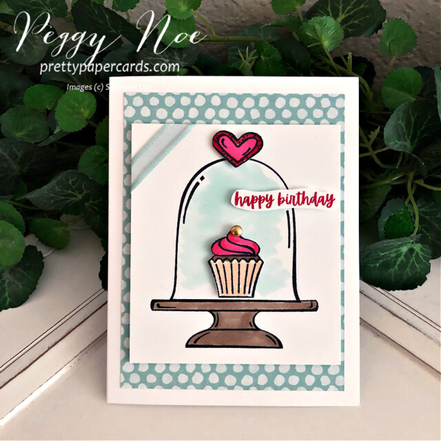 Handmade Birthday Card made with the Sweets & Treats Stamp Set by Stampin' Up! created by Peggy Noe of Pretty Paper Cards #sweets&treats #sweets&treatsstampset #clochecard #birthday #birthdaycard #cupcakecard #birthdaycupcake #birthdaycupcakecard #peggynoe #prettypapercards #prettypapercards.com #stampinup #stampingup #clochebirthdaycard