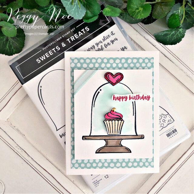 Handmade Birthday Card made with the Sweets & Treats Stamp Set by Stampin' Up! created by Peggy Noe of Pretty Paper Cards #sweets&treats #sweets&treatsstampset #clochecard #birthday #birthdaycard #cupcakecard #birthdaycupcake #birthdaycupcakecard #peggynoe #prettypapercards #prettypapercards.com #stampinup #stampingup #cupcake